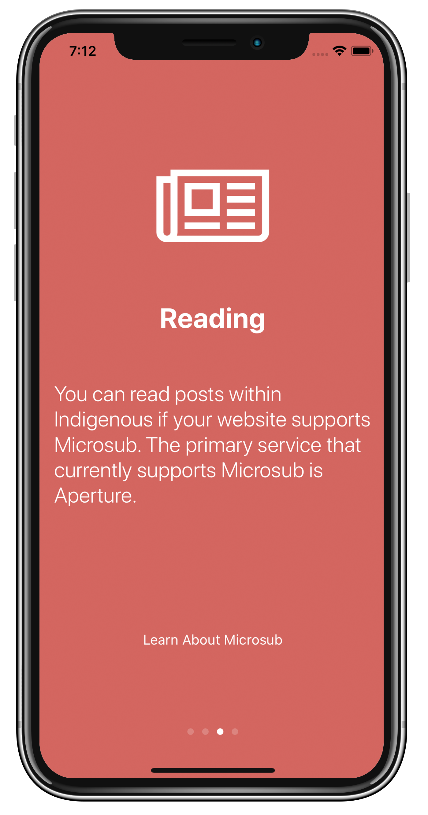 Onboarding Screen about Microsub
